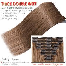 Details About 120g 220g Double Weft Clip In Thick Remy Human Hair Extension Full Head Us U025