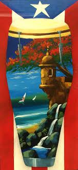artesanía de puerto rico garita y flamboyán al óleo sobre conga y bandera puertorriqueña en