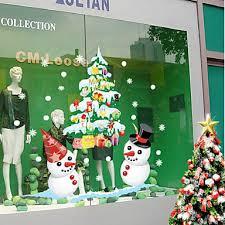 Colorful Christmas Tree With Snowmen Window Door Sticker