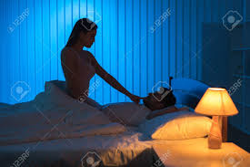 Stock Photo   The Romantic Couple Have Sex In The Bedroom. Night Time