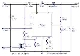 volts dc power supply from usb port 5volts to 12 volts voltage converter circuit diagram 12volts