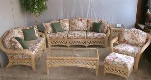 Wicker Living Room Furniture Unique Rattan Bamboo Sofa And Armchair With Round Glass Coffee