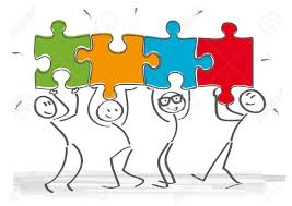 Work Together Work Together Stick Figures With Puzzle Pieces