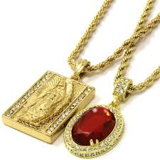 details about mens square virgin mary red ruby bundle set pendant hip hop 30 rope chain d892
