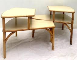 two tiered side tables mid century modern mid century rattan and laminate top two tier side two tiered side tables