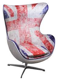 union jack spitfire aj egg chair label