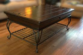 ... Coffee Table, Chic Brown And Black Rectangle Classic Iron And Wood Coffee  Table With Storage ...