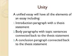 the unity of an essay unity unity refers to each part of the  4 unity a unified essay