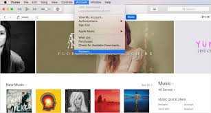 the account menu in itunes with redeem selected