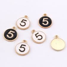 100pcs enamel charm 2 color arabic number 5 exquisite alloy pendants 19 15mm 2 2g