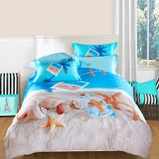 ocean blue beige and brown seas and starfish print marine life tropical beach themed full queen size 100 cotton bedding sets