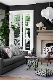Gray couch with dark walls living room inspiration