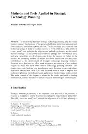 methods and tools applied in strategic technology planning springer research and technology management in the electricity industry