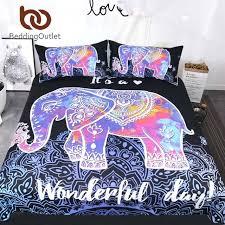 mandala comforter set colorful elephant bedding set queen size bohemian duvet cover mandala bed set black