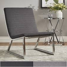 Ululani Grey Linen Chrome Metal Leg Accent Chair iNSPIRE Q Modern by  iNSPIRE Q