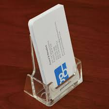 acrylic countertop business card holder vertical portrait view larger