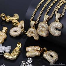 a z custom name bubble letters necklaces pendant charm for men women gold silver gold rose color cubic zircon hip hop jewelry gifts number pendant