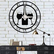Stylish wall bar if you want to keep it simple and easy, a wall bar may be right for your basement. Metal Wall Clock Wine Bottle And Glasses Metal Wall Art Decor Bar Decor Wine Bar Clock Wine Lover Gift Kitchen Clock