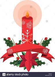 Weihnachten Kerze Weihnachtsstern Blumen Ribbon Vector