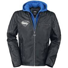 details about men s justice league superman motorbike genuine leather hooded jacket