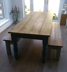 large farmhouse table and benches