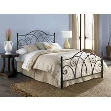 Wrought Iron Bed Frames Wnite Bedding Bed Canopy Table Lamp Flower Pot  Floor Rug Round Sidetable