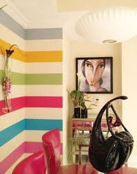 Unique Wall Paint Unique Wall Art With Colorful Horizontal Stripes Painting For