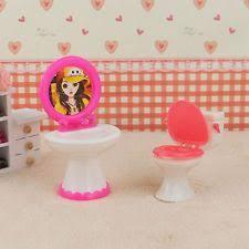 barbie dollhouse furniture sets. bathroom furniture plastic toilet sink mirror set for barbie doll dollhouse sets e