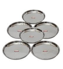 buy shubham steel dinner plates  thali   pcs set   inches