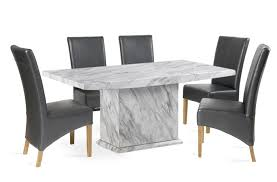 calacatta marble dining table with 6 grey cannes leather chairs