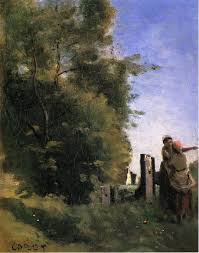two women talking by a gate camille corot start date completion style realism genre landscape technique oil material canvas dimensions 33 x cm
