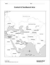 Central & Southwest Asia: Labeled Map Worksheet for 6th - 12th ...