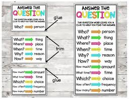 Question Words Anchor Charts And Flash Cards