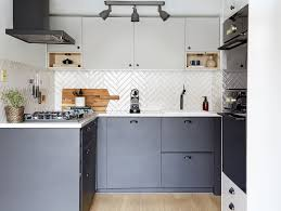 Small Black Wood Gloss And Country Grey Cabinets Marble Pictures