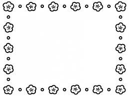 梅の花とドットの白黒囲みフレーム飾り枠イラスト 無料イラスト