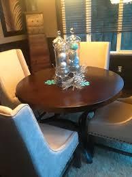 wood top round table w black metal bottom furniture in bonney lake wa offerup