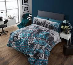 aerial photo new york bedding twin full queen duvet comforter cover set teal blue grey white