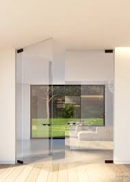 Glass Pivot Door With Compact Glass Patch Fittings And Offset Axis - Exterior pivot door