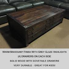 solid wood 8 drawer rustic tail table