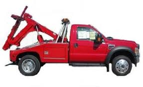 Red Wrecker Truck with a DOT number, USDOT number, US DOT number
