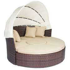 outdoor patio sofa furniture round retractable canopy daybed brown wicker rattan com
