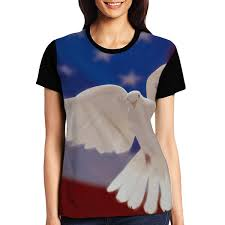 Womens Raglan Top Tee American Flag Dove Summer Casual T