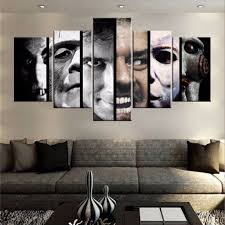 amazing room living of 5 pieces horror characters wall art picture home decoration pics