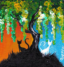 Day and night willow tree With a Black and a White cat Study #1. This is a  easy step by step acrylic painting for beginners on canvas by The Art  Sherpa.