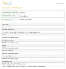 Pta Templates Pta Meeting Minutes Template For Word Dotxes