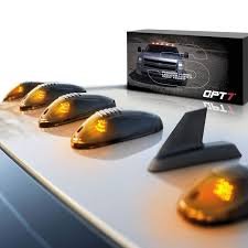 Led Cab Lights Opt7 Smoked Amber Led Cab Lights Roof Mount W Switch For F150 Silverado Ram Truck 1500 2500 3500