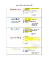 Forms Of Government Chart Worksheets Teaching Resources Tpt