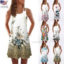<b>2019</b> Women <b>Summer</b> Vintage Sleeveless 3D Floral Print <b>Bohe</b> ...