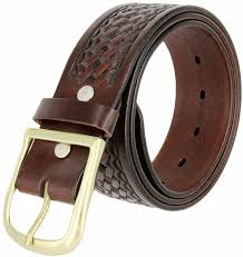 heavy duty basketweave work uniform genuine leather belt 1 75 wide for men brown
