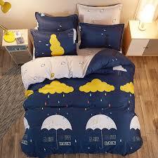 yellow cloud raining umbrella bedding set dark blue duvet cover bed sheet sets single double queen